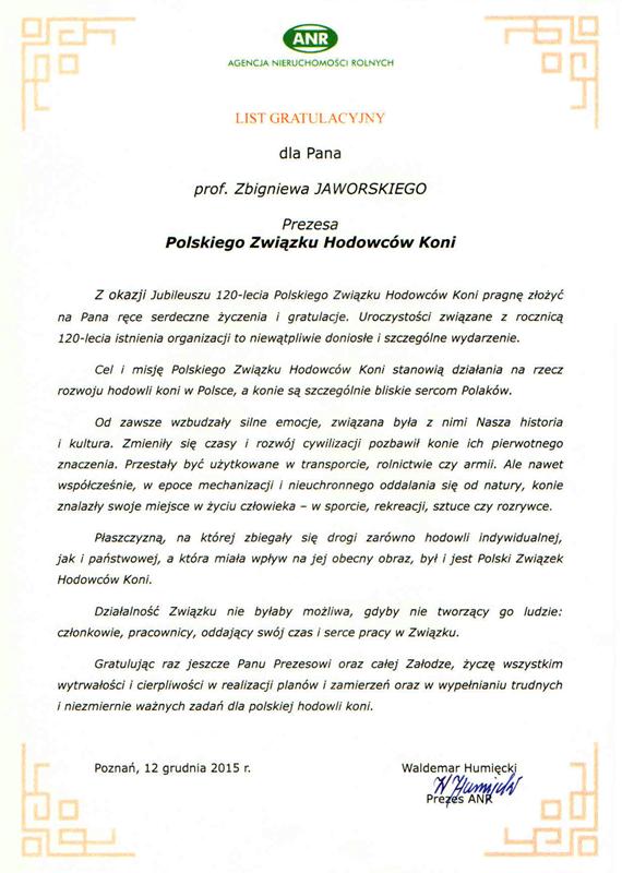 List gratulacyjny ANR