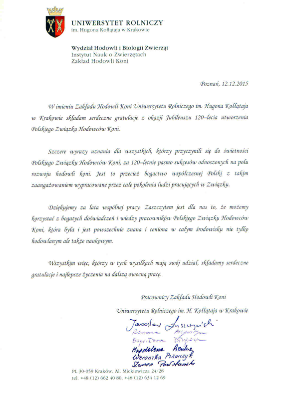 List gratulacyjny UR Kraków