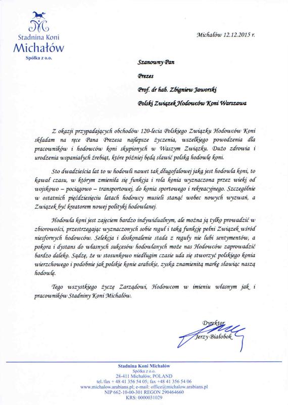 List gratulacyjny SK Michałów