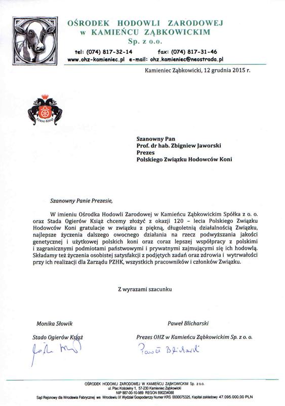 List gratulacyjny SO Książ