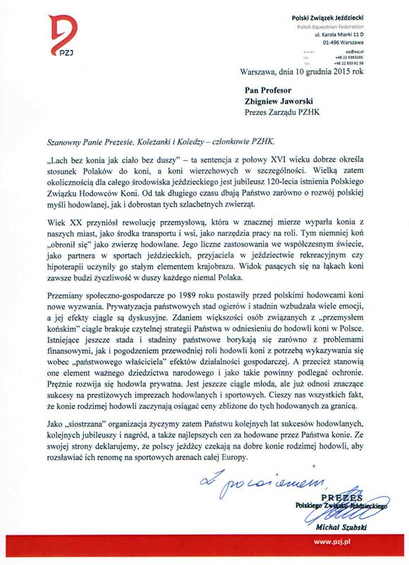 List gratulacyjny PZJ