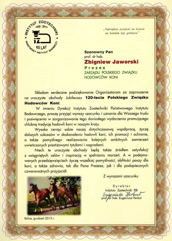 List gratulacyjny IZoot