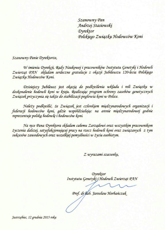 List gratulacyjny PAN Jastrzębiec