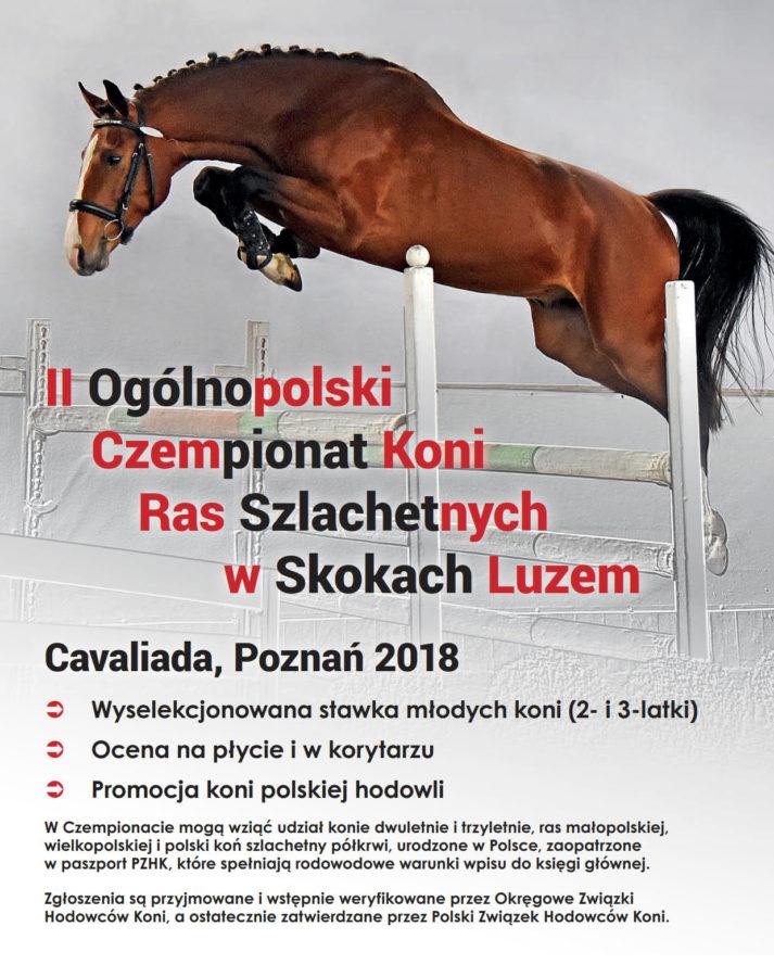 II Ogólnopolski Czempionat Koni Ras Szlachetnych wSkokach Luzem - Cavaliada 2018 - plakat